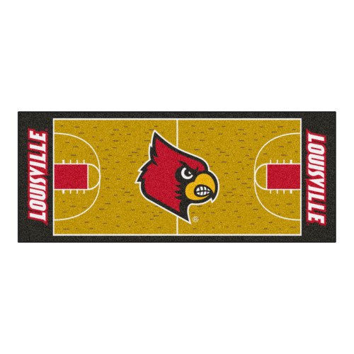 """30"""" x 72"""" Red and Yellow NCAA University of Louisville Cardinals Basketball Area Rug Runner - IMAGE 1"""