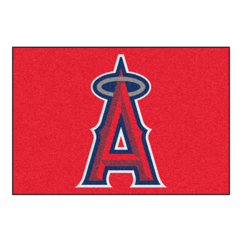 """19"""" x 30"""" Red and Blue MLB Los Angeles Angels Starter Mat Rectangular Area Rug - IMAGE 1"""