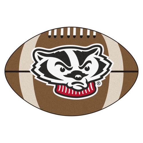 "20.5"" x 32.5"" Brown and Black NCAA University of Wisconsin Badgers Football Shaped Door Mat - IMAGE 1"