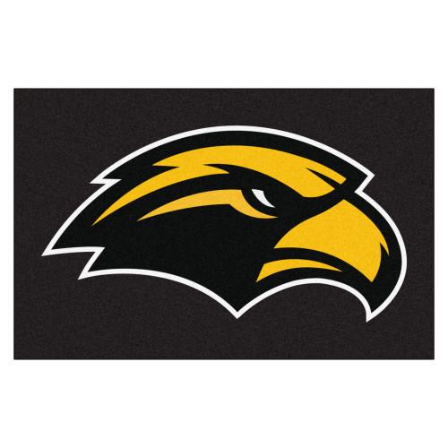 "19"" x 30"" Black NCAA University of Southern Mississippi Southern Miss Golden Eagles Starter Mat - IMAGE 1"