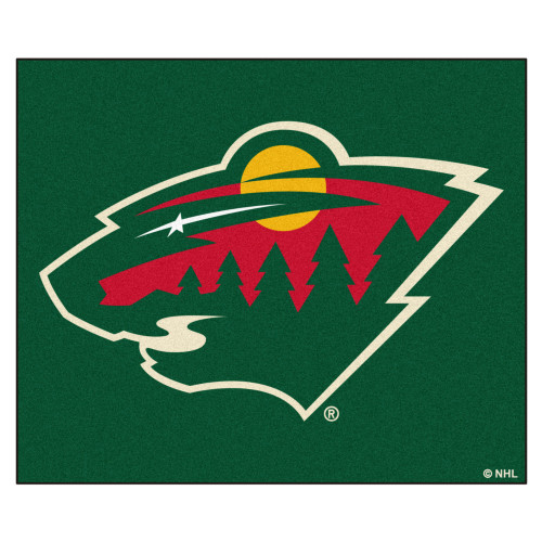 5' x 6' Green and Red NHL Minnesota Wild Tailgater Mat Rectangular Outdoor Area Rug - IMAGE 1