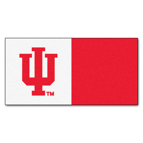 """20pc White and Red NCAA Indiana University Hoosiers Team Carpet Tile Set 18"""" x 18"""" - IMAGE 1"""