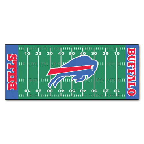 "30"" x 72"" Green and Blue NFL Buffalo Bills Football Field Area Rug Runner - IMAGE 1"