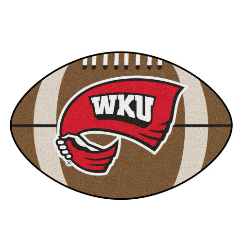 """20.5"""" x 32.5"""" Brown and Red NCAA Western Kentucky University Hilltoppers Football Mat - IMAGE 1"""