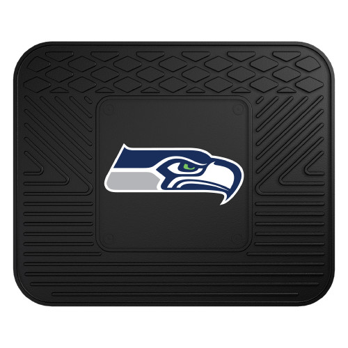 """14"""" x 17"""" Black and Blue NFL Seattle Seahawks Rear Car Seat Utility Mat - IMAGE 1"""