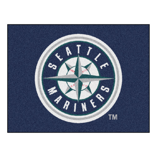 """33.75"""" x 42.5"""" Blue and White MLB Seattle Mariners Rectangular All-Star Mat Outdoor Area Rug - IMAGE 1"""