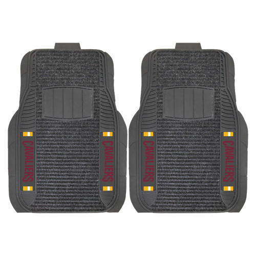 """Set of 2 Black NBA Cleveland Cavaliers Deluxe Car Mats 21"""" x 27"""" - IMAGE 1"""