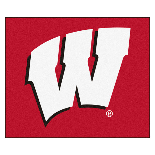 5' x 6' Red and White NCAA University of Wisconsin Badgers Rectangular Outdoor Area Rug - IMAGE 1