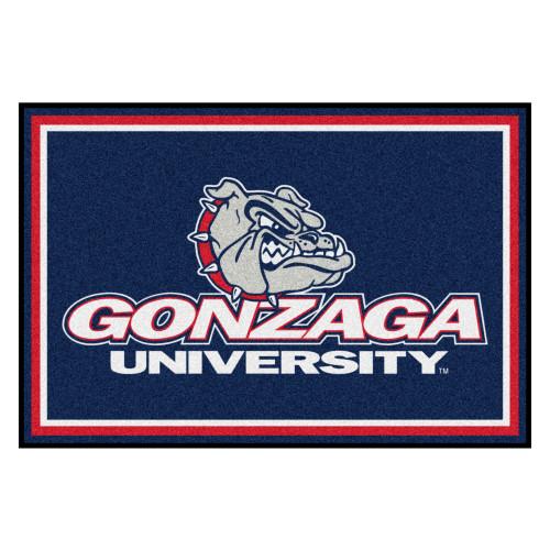 4.9' x 7.3' Blue and White Contemporary NCAA Gonzaga University Bulldogs Rectangular Area Rug - IMAGE 1
