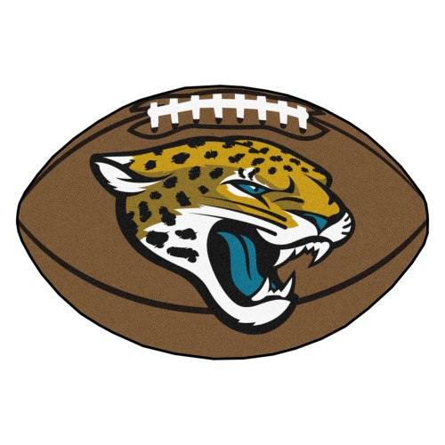 """20.5"""" x 32.5"""" Brown and Yellow NFL Jacksonville Jaguars Football Shaped Mat Area Rug - IMAGE 1"""
