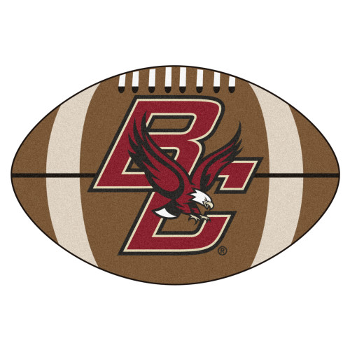 """20.5"""" x 32.5"""" Brown and Red NCAA Boston College Eagles Football Shaped Mat Area Rug - IMAGE 1"""