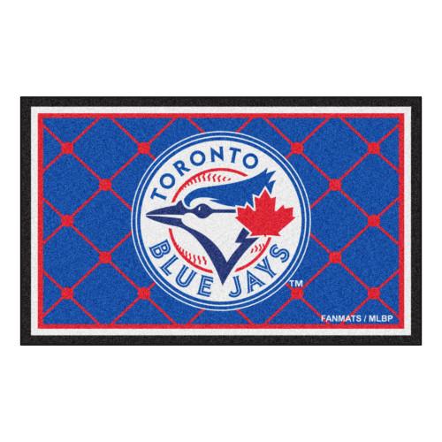 3.6' x 5.9' Blue and Red MLB Toronto Blue Jays Plush Area Rug - IMAGE 1
