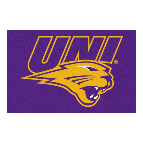 "19"" x 30"" Purple and Yellow NCAA University of Northern Iowa Panthers Starter Rectangular Door Mat - IMAGE 1"