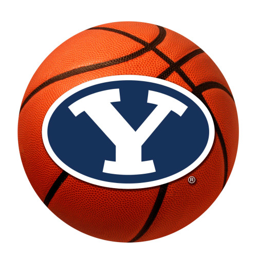 """27"""" Brown and Blue NCAA Brigham Young University Cougars Basketball Mat Area Rug - IMAGE 1"""