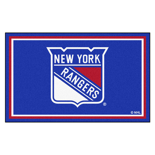 4' x 6' Blue and White NHL New York Rangers Plush Non-Skid Area Rug - IMAGE 1