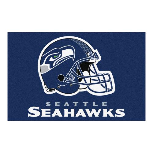 "19"" x 30"" Blue and White NFL Seattle Seahawks Rectangular Starter Mat - IMAGE 1"