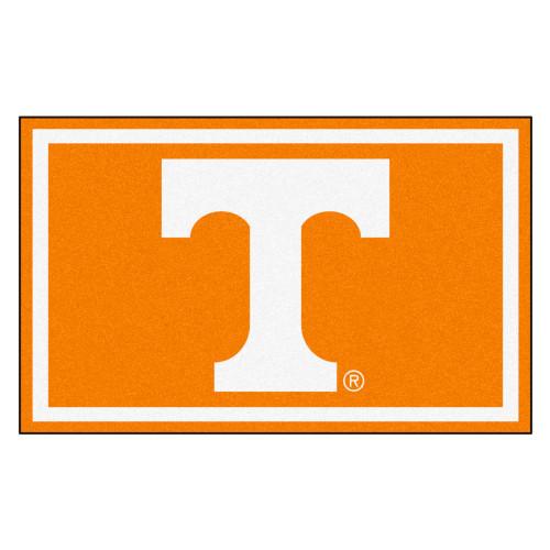 3.6' x 5.9' Orange and White NCAA University of Tennessee Volunteers Plush Non-Skid Area Rug - IMAGE 1