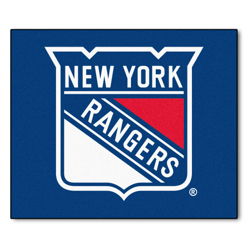 5' x 6' Navy Blue and White NHL New York Rangers Tailgater Mat Rectangular Outdoor Area Rug - IMAGE 1