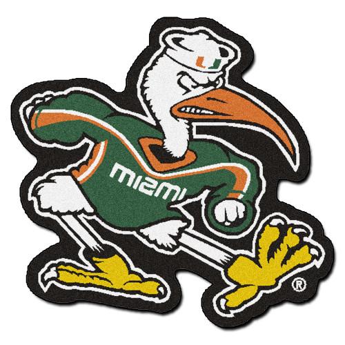 "31"" x 30"" White and Green NCAA University of Miami Hurricanes Mascot Mat Logo Area Rug - IMAGE 1"