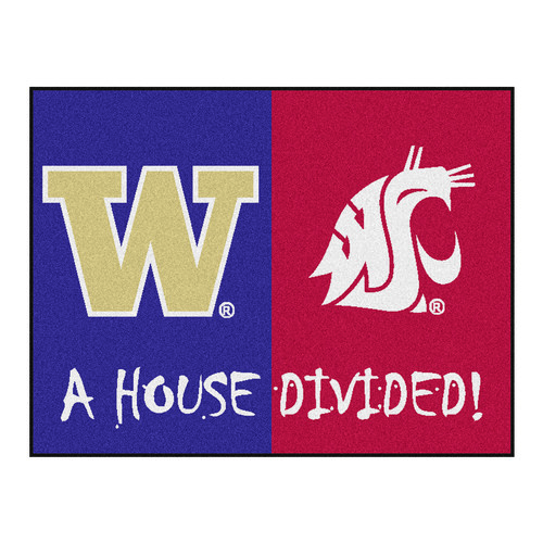 """33.75"""" x 42.5"""" Purple and Red NCAA House Divided Non-Skid Mat Rectangular Area Rug - IMAGE 1"""