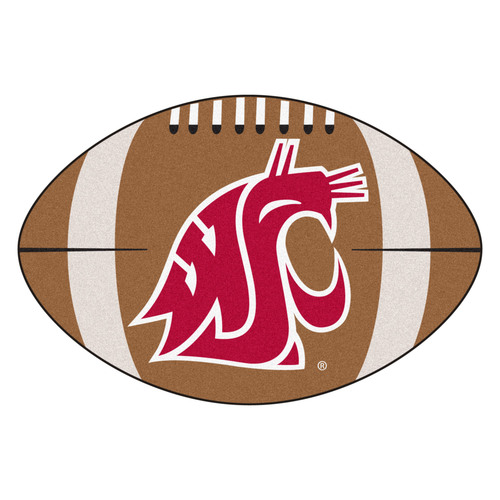"20.5"" x 32.5"" Brown and Red NCAA Washington State University Cougars Football Mat - IMAGE 1"