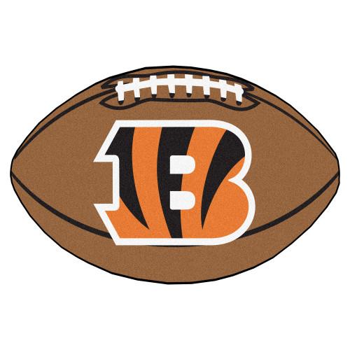 """20.5"""" x 32.5"""" Brown and Orange NFL Cincinnati Bengals Football Oval Door Mat - IMAGE 1"""