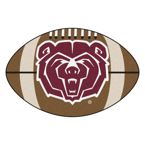 """20.5"""" x 32.5"""" Brown and Red NCAA Missouri State Bears Football Mat Area Rug - IMAGE 1"""