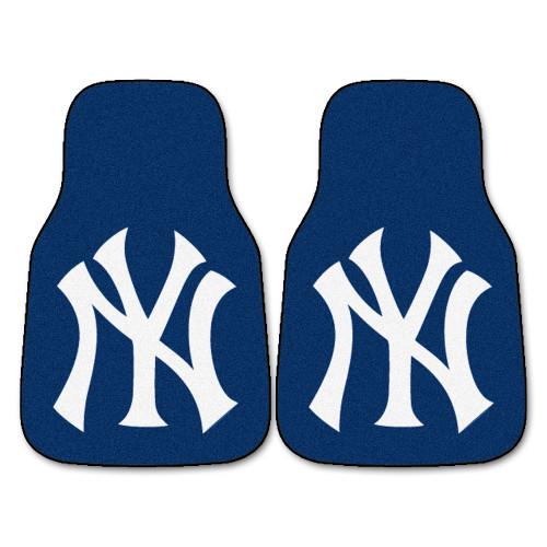 "Set of 2 Blue and White MLB New York Yankees Front Carpet Car Mats 17"" x 27"" - IMAGE 1"