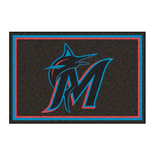 4.9' x 7.3' Blue and Black MLB Miami Marlins Plush Area Rug - IMAGE 1