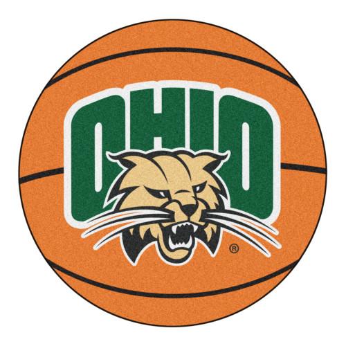"27"" Orange and Green NCAA Ohio University Bobcats Basketball Shaped Mat Area Rug - IMAGE 1"