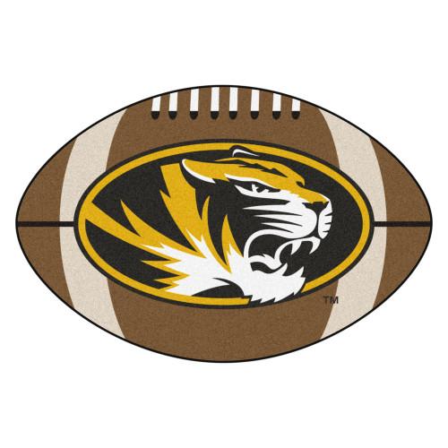 "20.5"" x 32.5"" Brown and Yellow NCAA University of Missouri Tigers Football Mat Area Rug - IMAGE 1"