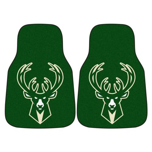 "Set of 2 Green and White NBA Milwaukee Bucks Front Carpet Car Mats 17"" x 27"" - IMAGE 1"