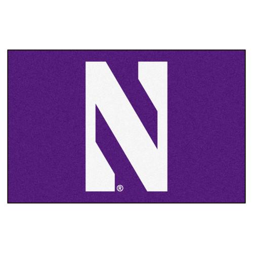 "19"" x 30"" Purple and White NCAA Northwestern University Demons Starter Door Mat - IMAGE 1"