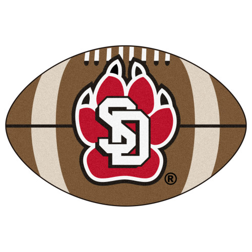 """20.5"""" x 32.5"""" Brown and Red NCAA University of South Dakota Coyotes Football Mat Area Rug - IMAGE 1"""