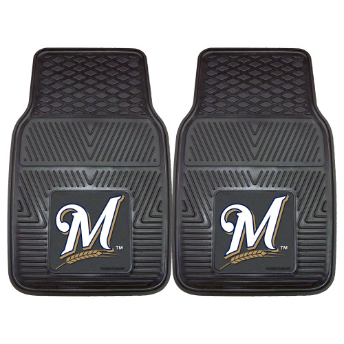 """Set of 2 Black and White MLB Milwaukee Brewers Car Mats 17"""" x 27"""" - IMAGE 1"""