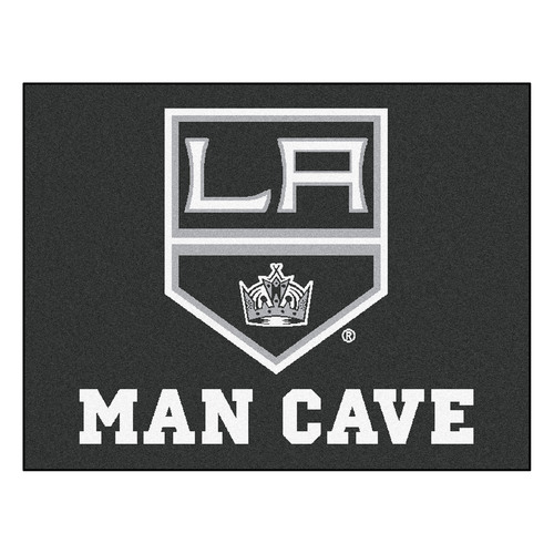 """33.75"""" x 42.5"""" Black and White NHL Los Angeles Kings """"Man Cave"""" All-Star Rectangular Mat Area Rug - IMAGE 1"""