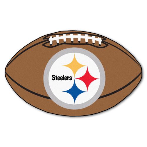 """20.5"""" x 32.5"""" Brown and White NFL Pittsburgh Steelers Oval Mat - IMAGE 1"""