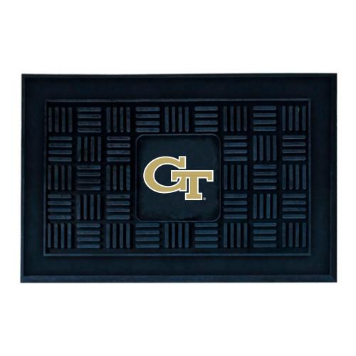 "19.5"" x 31.25"" Black and Yellow NCAA Georgia Tech Medallion Outdoor Door Mat - IMAGE 1"