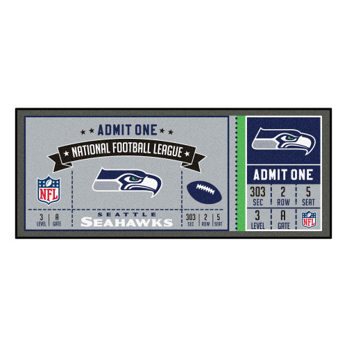 """30"""" x 72"""" Gray and Blue NFL Seattle Seahawks Ticket Mat Area Rug Runner - IMAGE 1"""