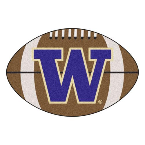 "20.5"" x 32.5"" Brown and Blue NCAA University of Washington Huskies Football Shaped Mat - IMAGE 1"