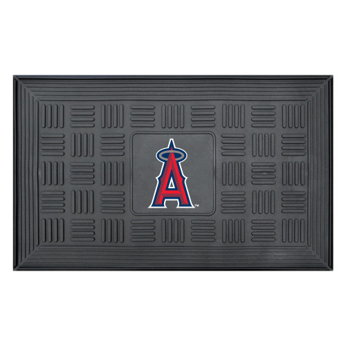 """19.5"""" x 31.25"""" Black and Red MLB Los Angeles Angels Team Medallion Outdoor Door Mat - IMAGE 1"""