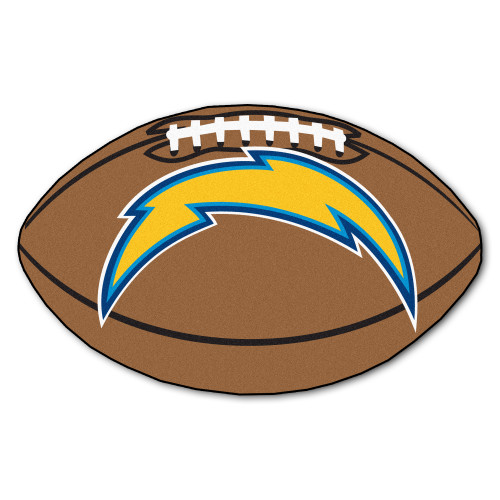 """20.5"""" x 32.5"""" Brown and Yellow NFL Los Angeles Chargers Football Mat - IMAGE 1"""