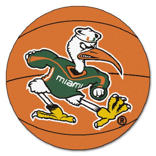 "27"" Brown and Green NCAA University of Miami Hurricanes Basketball Door Mat - IMAGE 1"