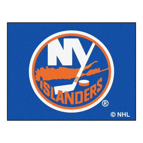"33.75"" x 42.5"" Blue and Orange NHL New York Islanders All Star Non-Skid Mat Rectangular Area Rug - IMAGE 1"