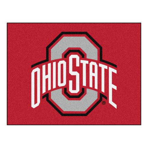 """33.75"""" x 42.5"""" Red and White NCAA Ohio State University Buckeyes All Star Non-Skid Mat Rectangular Welocome Door Mat - IMAGE 1"""