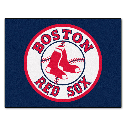 """33.75"""" x 42.5"""" Blue and White MLB Boston Red Sox All Star Mat Rectangular Area Rug - IMAGE 1"""