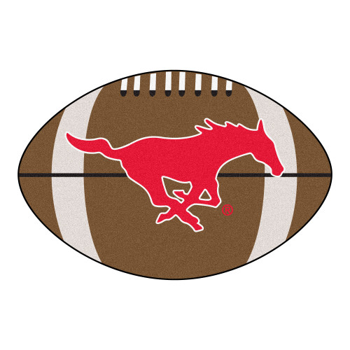 """20.5"""" x 32.5"""" Brown and Red NCAA Southern Methodist University Mustangs Football Mat - IMAGE 1"""
