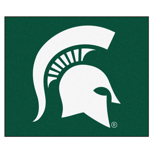 """59.5"""" x 71"""" Green and White NCAA Michigan State University Spartans Tailgater Area Rug - IMAGE 1"""