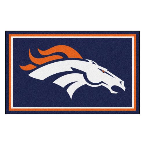 3.6' x 5.9' Blue and Orange NFL Denver Broncos Ultra Plush Rectangular Area Rug - IMAGE 1