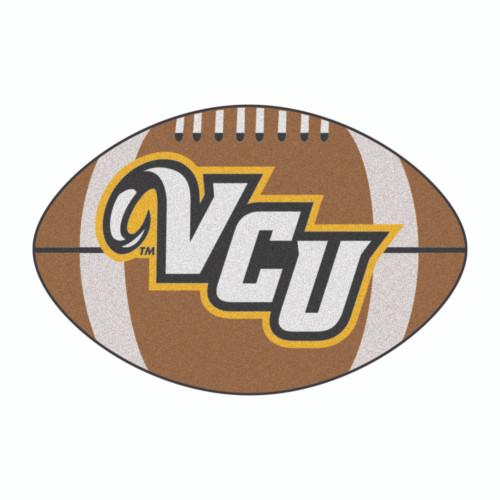 "20.5"" x 32.5"" Brown and White NCAA Virginia Commonwealth University Rams Football Shaped Door Mat - IMAGE 1"